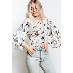 New Free People Floral Polka Dot Printed Blouse